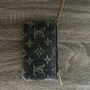Rare black denim Louis Vuitton coin purse wallet